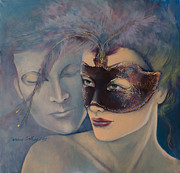 Masks Posters - Fragrance Poster by Dorina  Costras