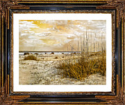 Piece Digital Art Prints - Framed Dunes Print by Betsy A Cutler East Coast Barrier Islands