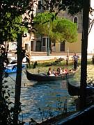 Framing A Gondola In Venice Print by John Malone