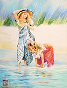 Children At Beach Prints - Fran and Margaret Print by Sally Buffington