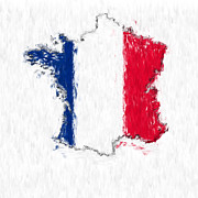 France Map Prints - France Painted Flag Map Print by Antony McAulay
