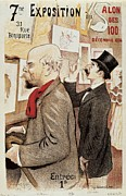 Literature Drawings Posters - France Paris poster of Paul Verlaine and Jean Moreas Poster by Anonymous