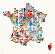 Watercolor Map Mixed Media - France watercolour map  by Brian Buckley