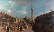 High Society Prints - Francesco Guardi  Venice Piazza San Marco c 1760 Print by MotionAge Art and Design - Ahmet Asar