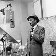 Frank Prints - Frank Sinatra in the recording studio Print by Sanely Great