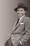Pop Singer Framed Prints - Frank Sinatra Framed Print by Sanely Great