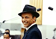 Pop Singer Framed Prints - Frank Sinatra Portrait Framed Print by Sanely Great