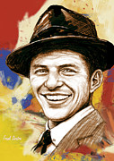 Signed Mixed Media - Frank Sinatra - stylised pop art drawing portrait poster  by Kim Wang