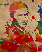 Singer Mixed Media Posters - Frank Sinatra Watercolor Portrait on Worn Distressed Canvas Poster by Design Turnpike
