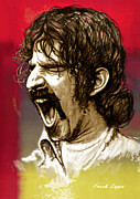 Frank Zappa Prints - Frank Zappa stylised pop art drawing potrait poser Print by Kim Wang