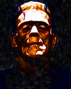 Movie Monsters Posters - Frankenstein - Abstract Poster by Wingsdomain Art and Photography