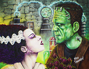Bride Of Frankenstein Posters - Frankenstein and The Bride Poster by Michael Vanderhoof