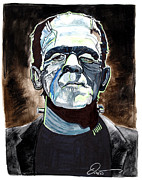 Horror Movies Drawings Framed Prints - Frankenstein Boris Karloff Framed Print by Dave Olsen