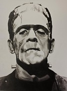 Horror Drawings Posters - Frankenstein  Poster by Brian Broadway