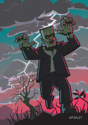Horror Illustration Prints - Frankenstein Creature In Storm  Print by Martin Davey