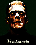 Haunted  Digital Art Posters - Frankenstein - Dark - With Text Poster by Wingsdomain Art and Photography