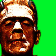 Movie Monsters Posters - Frankenstein Green Square Poster by Wingsdomain Art and Photography