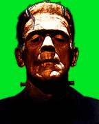 Ghosts Digital Art Metal Prints - Frankenstein - Green Metal Print by Wingsdomain Art and Photography