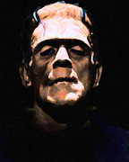 Funny Monsters Posters - Frankenstein - Painterly - Black Poster by Wingsdomain Art and Photography