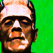Funny Monsters Prints - Frankenstein Painterly Green Square Print by Wingsdomain Art and Photography