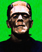 Movie Monsters Framed Prints - Frankenstein - Painterly - Green Framed Print by Wingsdomain Art and Photography