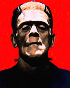 Movie Monsters Framed Prints - Frankenstein - Painterly - Red Framed Print by Wingsdomain Art and Photography