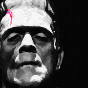 Movie Monsters Posters - Frankenstein Painterly Square Black and White Poster by Wingsdomain Art and Photography