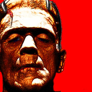 Movie Monsters Posters - Frankenstein Red Square Poster by Wingsdomain Art and Photography