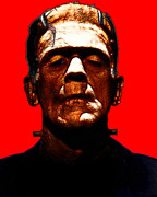 Monsters Digital Art - Frankenstein - Red by Wingsdomain Art and Photography