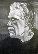 Frankenstein Drawings Prints - Frankensteins Monster Print by Anne Shoemaker-Magdaleno