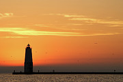 Jetty Photos - Frankfort North Breakwater Lighthouse by Adam Romanowicz
