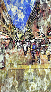 Old Town Digital Art Prints - Frankfurt Germany Central Market Street Print by Yury Malkov