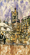 Old Town Digital Art Posters - Frankfurt Germany Central Square 2 Poster by Yury Malkov