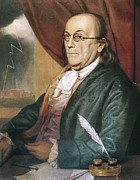Benjamin Franklin Framed Prints - Franklin, Benjamin 1709-1790. Oil Framed Print by Everett