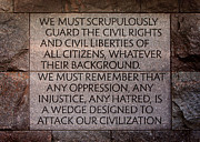 Civil Liberties Photos - Franklin Delano Roosevelt Memorial Civil Rights Quote by John Cardamone