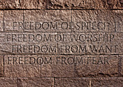 Civil Liberties Photos - Franklin Delano Roosevelt Memorial Freedom Quote by John Cardamone
