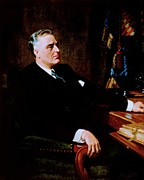 Democrat Painting Posters - Franklin Delano Roosevelt Poster by Pg Reproductions