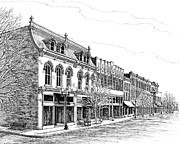 Pen And Ink Drawing Of Franklin Tennessee Drawings Framed Prints - Franklin Main Street Framed Print by Janet King