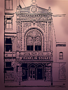 Downtown Franklin Mixed Media Posters - Franklin Square Theatre Poster by Megan Dirsa-DuBois