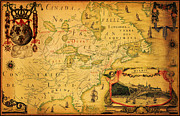 Old Map Paintings - Franquelins Map of Northernmost America 1688 by MotionAge Art and Design - Ahmet Asar