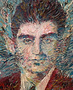 Drawing Painting Originals - Franz Kafka Oil Portrait by Fabrizio Cassetta
