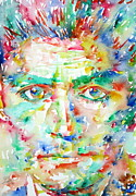 Trial Painting Framed Prints - Franz Kafka Watercolor Portrait Framed Print by Fabrizio Cassetta