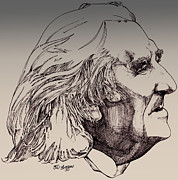 Line Art Drawings - Franz Liszt by Derrick Higgins