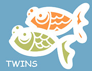 Fish Print Prints - Fraternal Twins - Baby Room Art Print by Nursery Art