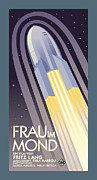 Vintage Typography Digital Art Metal Prints - Frau Im Mond Metal Print by Gary Grayson