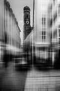Church Street Digital Art Framed Prints - Frauenkirche - Muenchen V - bw Framed Print by Hannes Cmarits