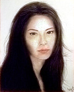 Asian Artist Drawings - Freckled Faced Beauty Lucy Liu  by Jim Fitzpatrick