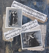 Light And Dark  Mixed Media Prints - Fred and Ginger Collage Print by Anita Burgermeister