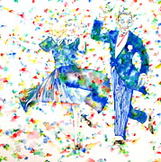 Astaire Art - FRED ASTAIRE and GINGER ROGERS watercolor portrait by Fabrizio Cassetta