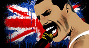 Pop Star Framed Prints - Freddie Mercury Framed Print by Mark Ashkenazi